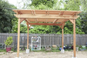 Redwood shade structure and pergola, 8 foot heigh with coverage of 120 square feet.