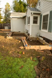 addition area forms and footings