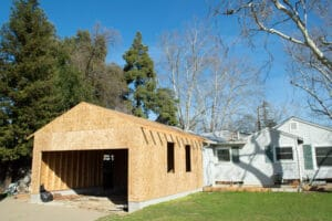 profile view of a new garage built in woodland CA