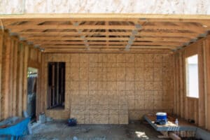 ceiling and rafter trusses for the garage