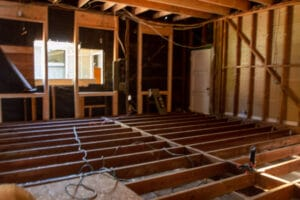 The floor joists for the new garage conversion, all pressure treated wood