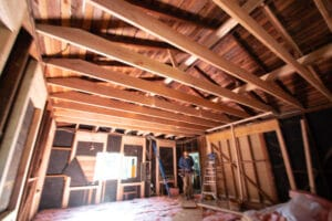ceiling of the new garage conversion