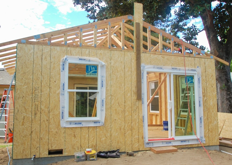 framing of a room addition