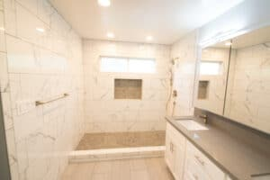 whole bath tile with carrera marble